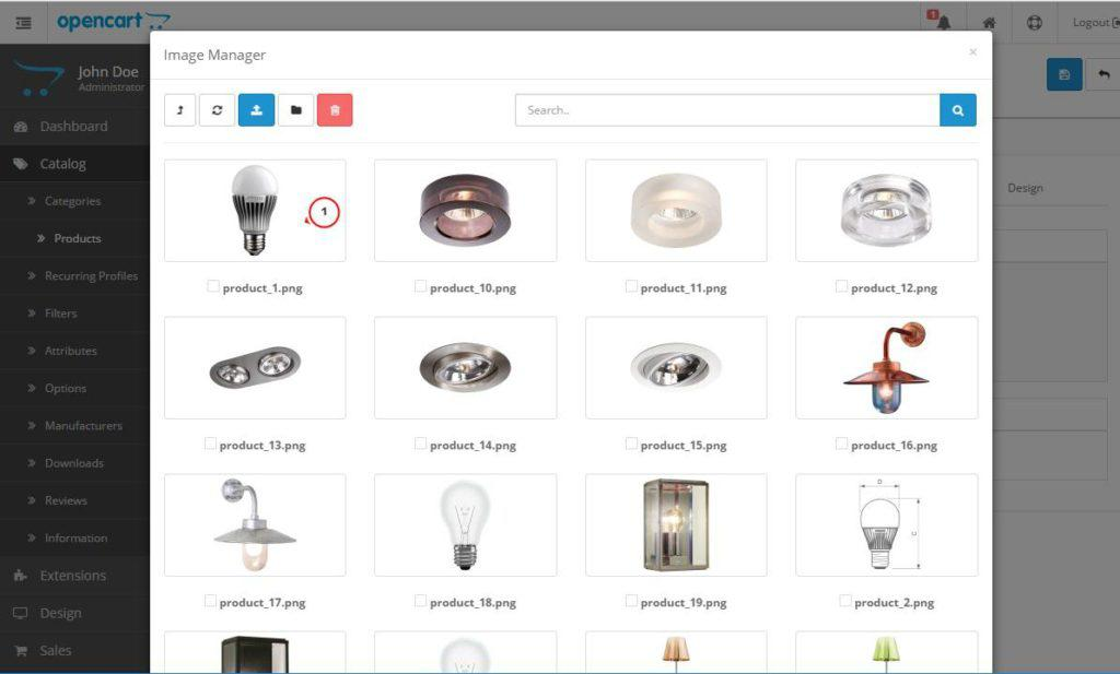 Изображения для товара в магазине Opencart